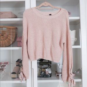 Pink Grommet Lace-Up Sleeve Sweater